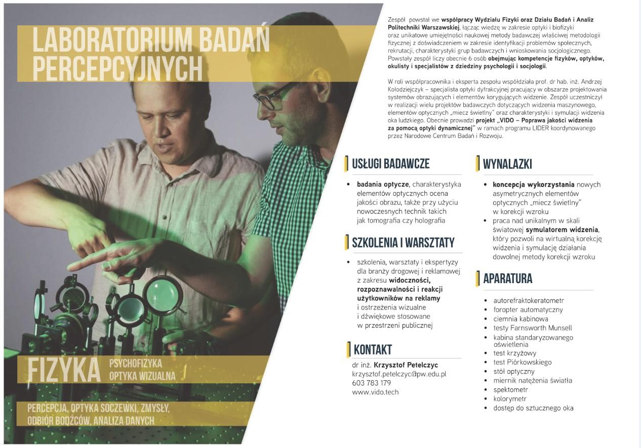 Diagnoza bieżących i perspektywicznych kierunków prac badawczo-rozwojowych na Politechnice Warszawskiej