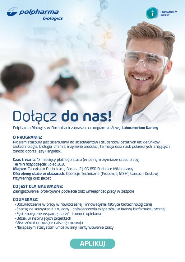 Program stażowy w Polpharma Biologics